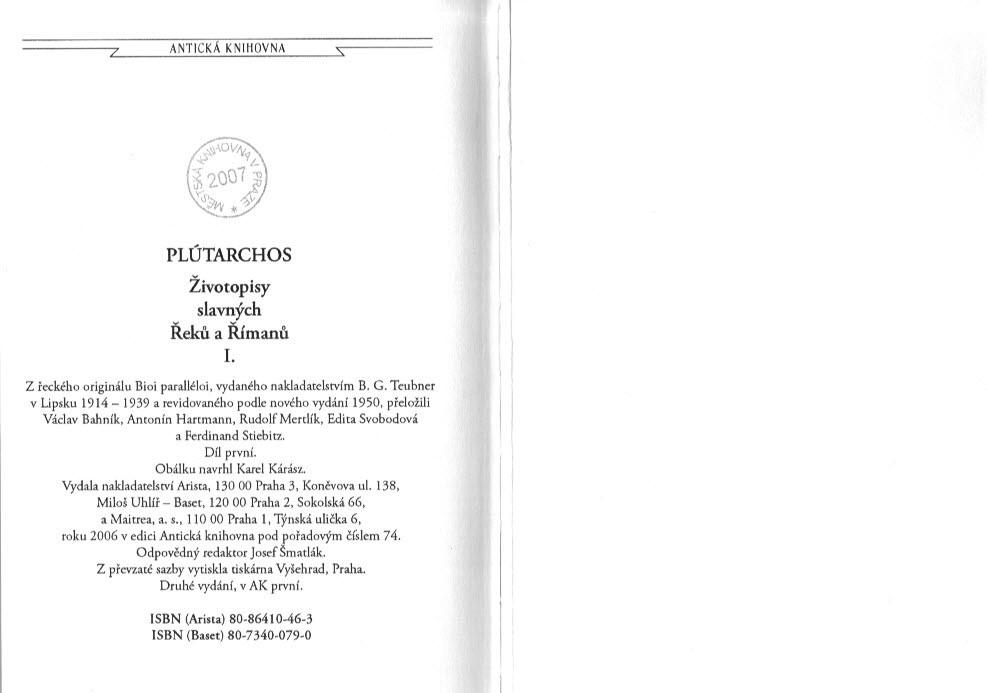 Zivotopisy Slavnych Reku A Rimanu I